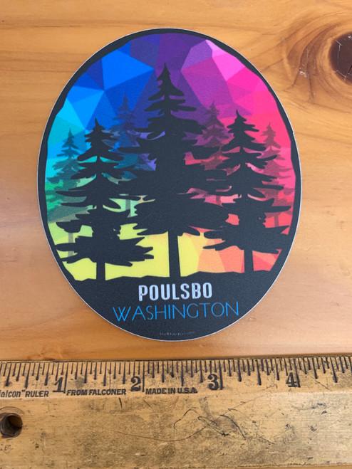 Poulsbo Washington Rainbow Colorful Tree Vinyl Sticker Decal