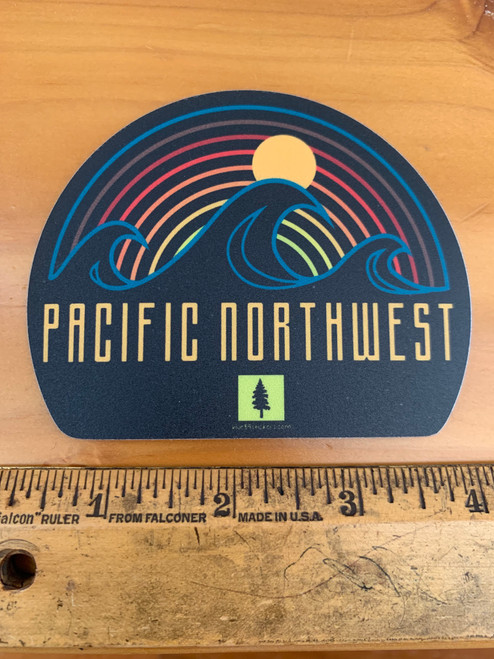 Pacific Northwest Wave Sunset Tree Vinyl Sticker Decal