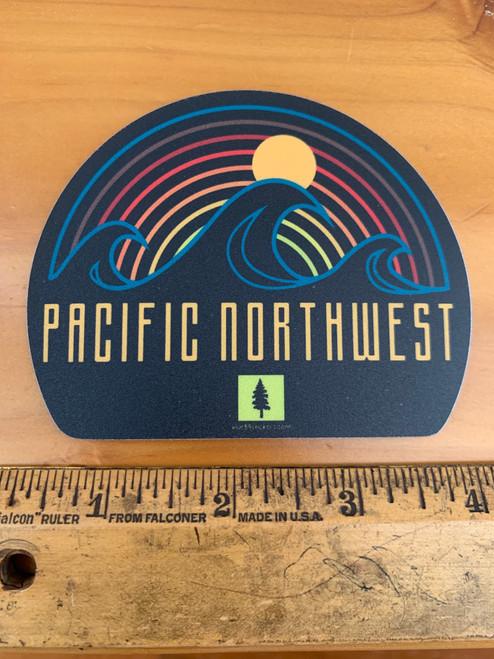 Pacific Northwest Wave Sunset Tree Vinyl Sticker Decal