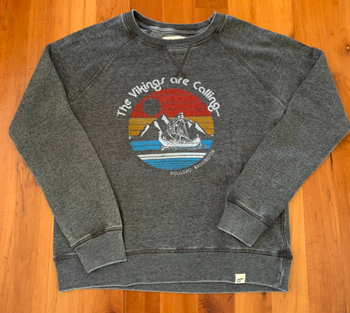 The Vikings are Calling Women's Gray Crew Neck Raglan Sweatshirt