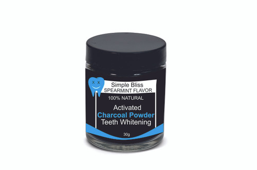 CHARCOAL TEETH WHITENING POWDER GLASS JAR WITH SIDE LABEL (SOLD IN INCREMENTS OF 100 UNITS)
