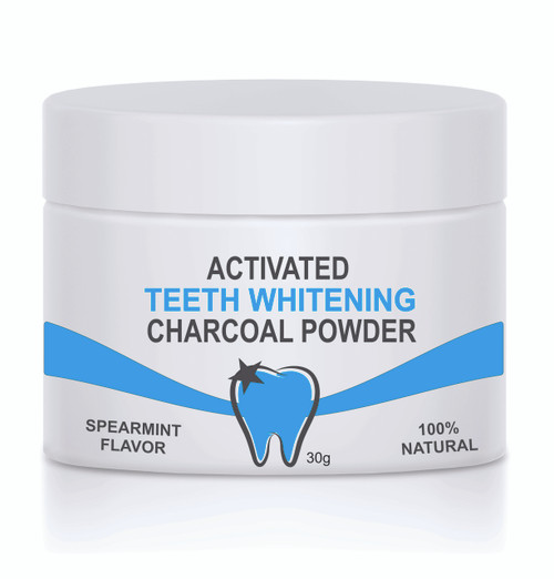 CHARCOAL TEETH WHITENING POWDER  PLASTIC 30g WITH SIDE LABEL ( SOLD IN INCREMENTS OF 100 UNITS )