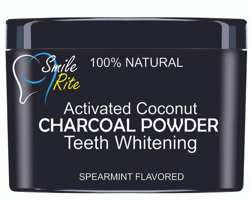 CHARCOAL TEETH WHITENING POWDER BLACK PLASTIC WITH SIDE LABEL 60g ( SOLD IN INCREMENTS OF 100 UNITS )