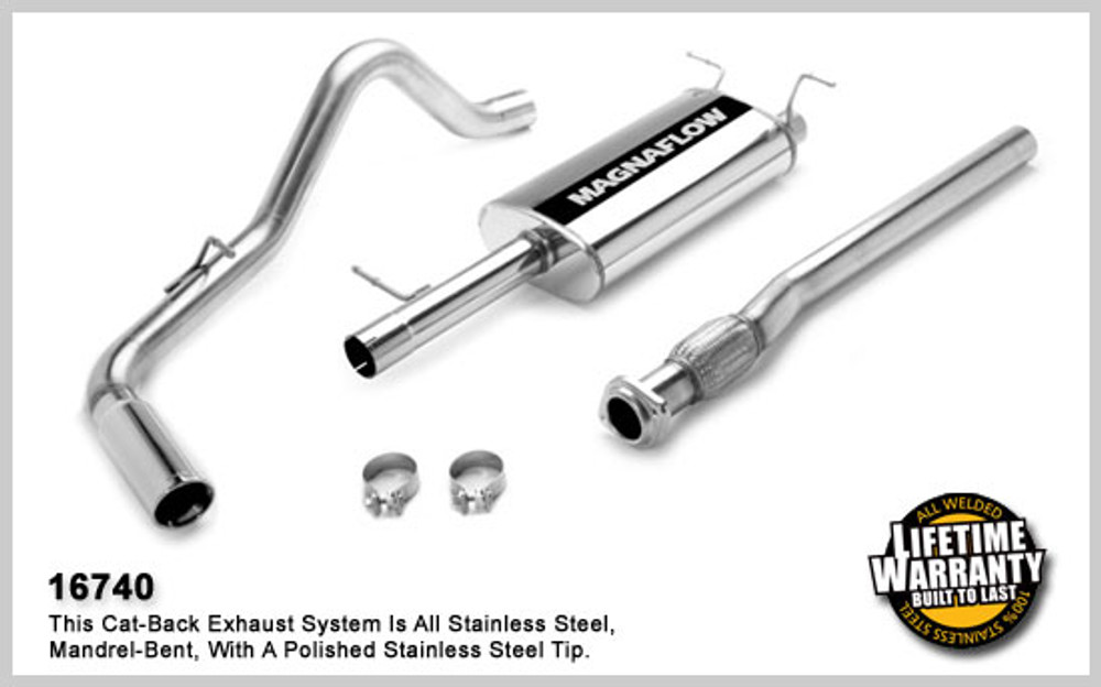 Magnaflow Stainless Steel Cat-Back System for 2007-2008 Chevrolet Silverado/Sierra 1500; V8 4.8L, 5.3L, 6.0L, Crew/Extended Cab, Short Bed & 6.5' Bed, excl Hybrid; Excl. Hybrid 5 X 8 X 22in. Muffler; 3.0in. Tubing; 4.0in. Polished Stainless Tip; SING