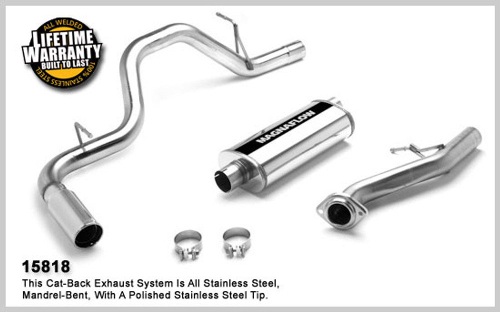 Magnaflow Stainless Steel Cat-Back for 2003-2007 Chevrolet Silverado/Sierra 1500 incl. Classic; V6-8, 4.3L,4.8L, 5.3L Classic Standard Cab Short Bed 5 x 8 x 18in. Muffler; 3.0in. Tubing; 4.0in. Polished Stainless Tip; SINGLE REAR PASSENGER SIDE EXIT