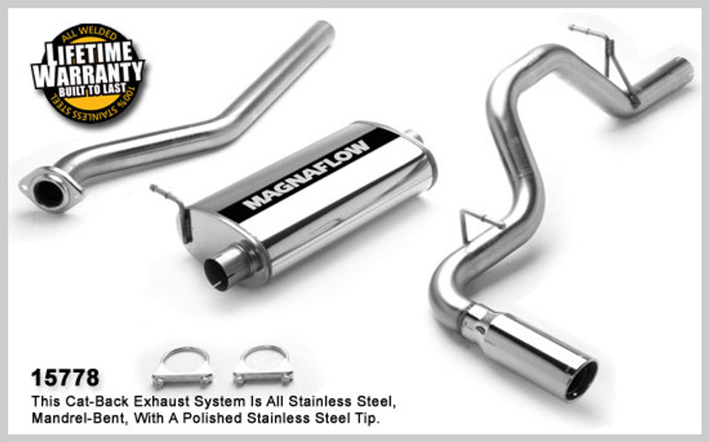 Magnaflow Stainless Steel Cat-Back for 2003-2007 Chevrolet Silverado/Sierra 1500 incl. Classic;V6-8, 4.3L, 4.8L, 5.3L Classic Extended Cab Short Bed 5 x 11 x 22in. Muffler; 3.0in. Tubing; 4.0in. Polished Stainless Tip; SINGLE REAR PASSENGER SIDE EXIT