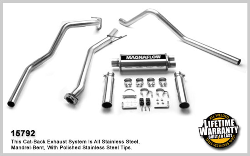 Magnaflow Stainless Steel Cat-Back for 2003-2007 Chevrolet Silverado/Sierra 1500 incl. Classic;V6-8, 4.3L,.8L, 5.3L Classic Extended Cab Short Bed/6.5' Bed; 5 x 8 x 18in. Muffler; 3.0/2.5in. Tubing; 3.5in. Polished Stainless Tip; DUAL SPLIT REAR EX