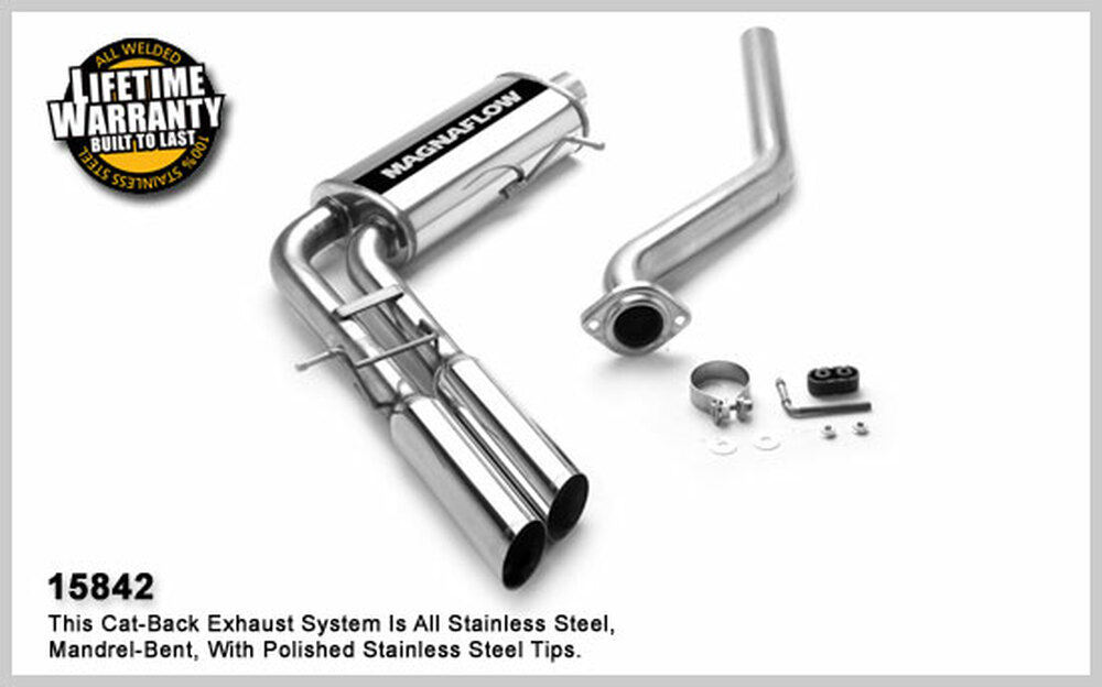 Magnaflow Stainless Steel Cat-Back for 2003-2007 Chevrolet Silverado/Sierra 1500 incl. Classic;V6-8, 4.3L, 4.8L, 5.3L Classic Extended Cab Short Bed/6.5' Bed; 5 x 11 x 22in. Muffler; 2.5/3.0in. Tubing; 3.5in. Polished Stainless Tip; DUAL SAME SIDE EX