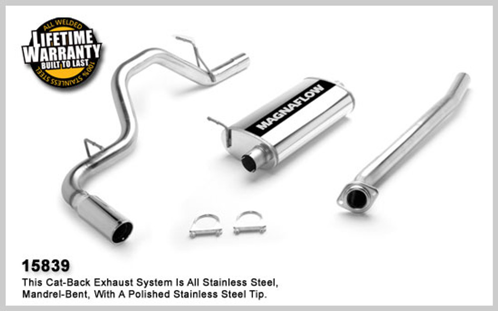 Magnaflow Stainless Steel Cat-Back for 2004-2007 Chevrolet Silverado/Sierra 1500 incl. Classic;V8 5.3L; Crew Cab (68.4in. Bed) 5 x 11 x 22in. Muffler; 3.0in. Tubing; 4.0in. Polished Stainless Tip; SINGLE STRAIGHT REAR PASSENGER SIDE EXIT