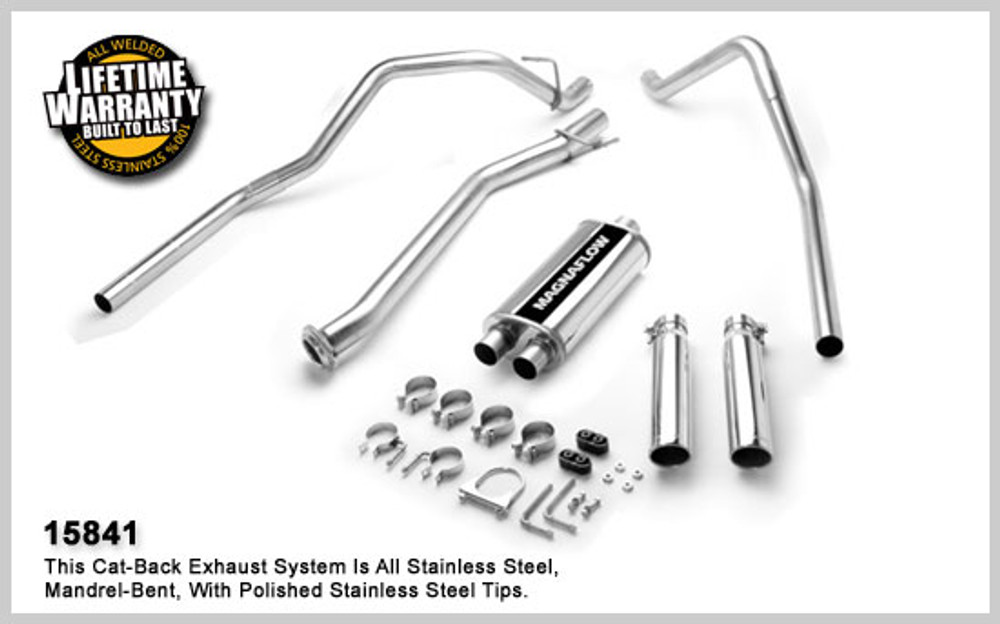 Magnaflow Stainless Steel Cat-Back for 2004-2007 Chevrolet Silverado/Sierra 1500 incl. Classic;V8 5.3L; Crew Cab (68.4in. Bed) 5 x 8 x 18in. Muffler; 3.0/ 2.5in. Tubing; DUAL SPLIT REAR EXIT