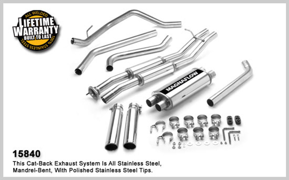 Magnaflow Stainless Steel Cat-Back for 2003-2007 Chevrolet Silverado/SS/Sierra 1500; V8 6.0L; Extended Cab (78in. Bed) 5 x 8 x 18in. Muffler; 2.5in. Tubing; 3.5in. Polished Stainless Tip; DUAL SPLIT REAR EXIT