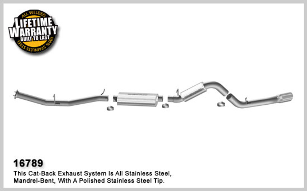 Magnaflow Stainless Steel Cat-Back for 2007-2008 Chevrolet Silverado/Sierra 2500 HD; V8 6.0L; Crew Cab/Long Bed (97.6in Bed) 5 x 11 x 22in. Muffler; 3.0/4.0in. Tubing; 5.0in. Polished Stainless Tip; SINGLE REAR PASSENGER SIDE EXIT