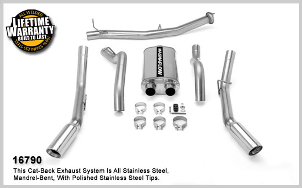 Magnaflow Stainless Steel Cat-Back for 2007-2008 Chevrolet Silverado/Sierra 2500 HD; V8 6.0L; Crew Cab/Long Bed (97.6in Bed) 5 x 8 x 18in. Muffler; 3.5/3.0in. Tubing; 4.0in. Polished Stainless Tip; DUAL SPLIT REAR EXIT