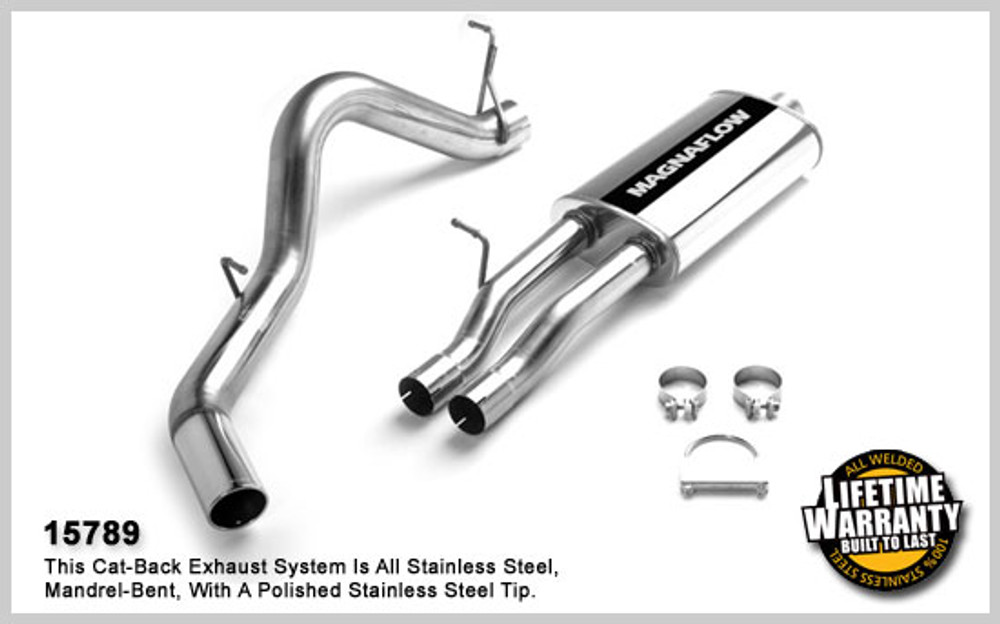 Magnaflow Stainless Steel Cat-Back for 2003-2007 Chevrolet Silverado/Sierra 2500 HD; V8 6.0L; Crew Cab/Short Bed (78in. Bed) 5 x 11 x 22in. Muffler; 3.0/4.0in. Tubing; 4.0in. Polished Stainless Tip; SINGLE REAR PASSENGER SIDE EXIT