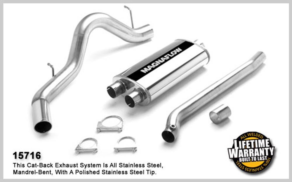 Magnaflow Stainless Steel Cat-Back System for 2001-2006 Chevrolet Suburban 2500 & GMC Yukon XL 2500; V8 6.0L 5 x 11 x 22in. Muffler; 3.0/4.0in. Tubing; 4.0in. Polished Stainless Tip; SINGLE REAR PASSENGER SIDE EXIT