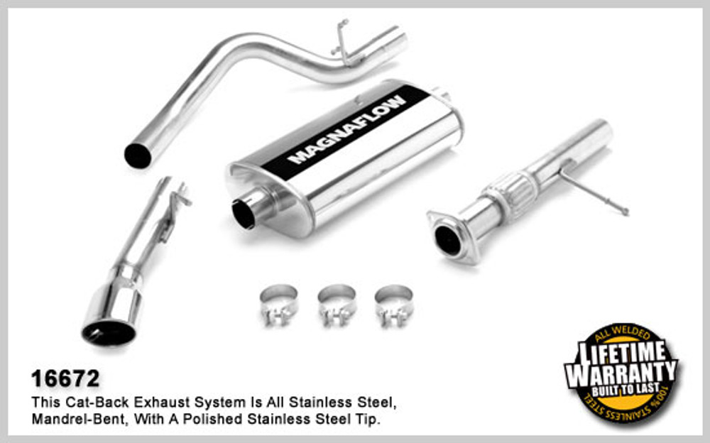 Magnaflow Stainless Steel Cat-Back System for 2007-2008 Chevrolet Tahoe/Yukon; V8 5.3L 5 x 11 x 22in. Muffler; 3.0in. Tubing; 3.5in. x 5.5in. Oval Polished Stainless Tip; SINGLE REAR PASSENGER SIDE EXIT