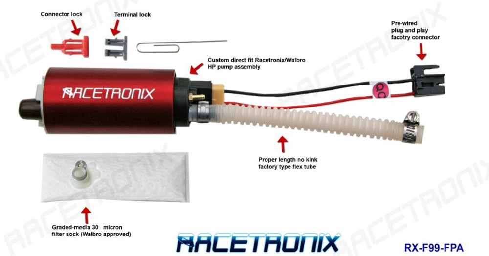 Racetronix Fuel Pump Kit 99-02 F (Plastic) on
