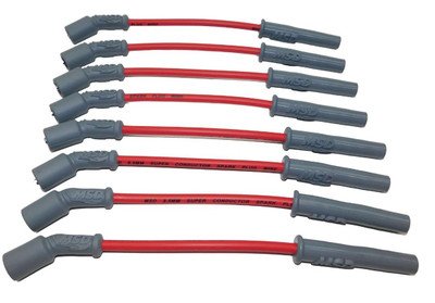 MSD Helicore Spark Plug Wire Set, 8.5mm, Super Conductor, Red, fits LS Truck Engines, Part #32829