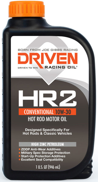 Joe Gibbs DRIVEN HR-2 High Zinc Conventional Motor Oil, 10W-30, Quart, Part #02006