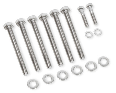 Mr. Gasket Water Pump Bolt Set, GM LS Engines, Stainless Steel, Hex Head, Part #60930G