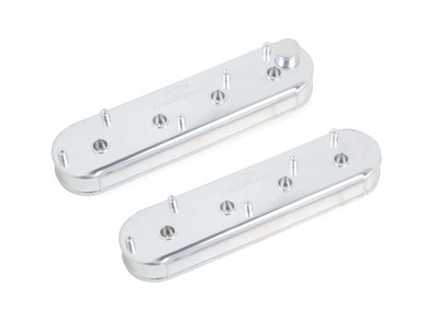 Holley Track Series Fabricated Aluminum Valve Covers with OEM Coil Stands, Silver, for LS engines, Part #241-289