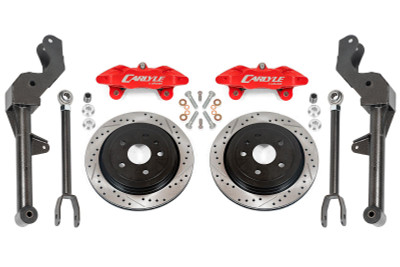 """15"""" Conversion Kit by Carlyle Racing, Drilled and Slotted Rotors, Red Calipers - 5th Gen Camaro"""