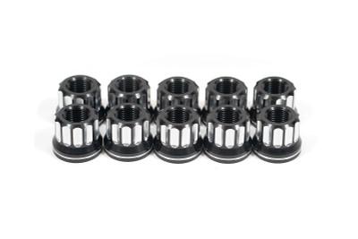 Lug nut kit, 5/8-18 RH, flange, 12-pt, aluminum, set of 10