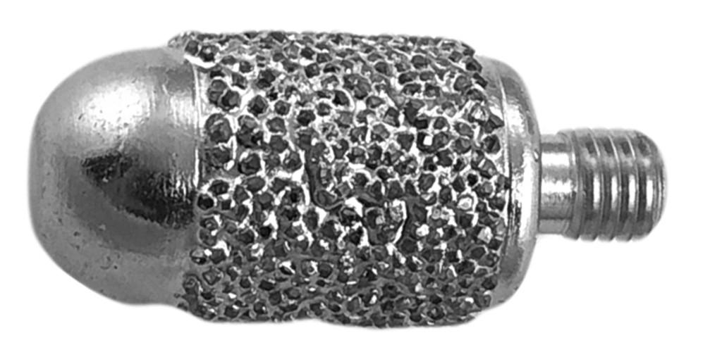 "1/2"" Brazed Diamond Round Nose Barrel Burr 1/4-28 Thread"