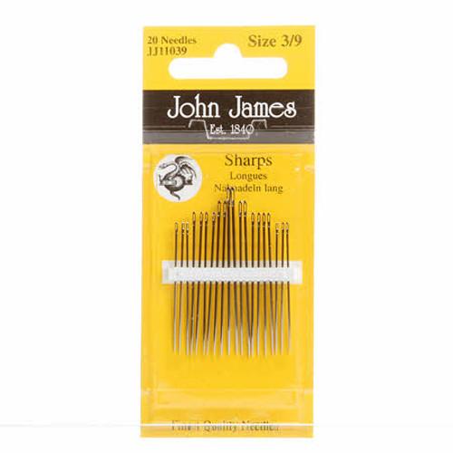 John James Sewing Needles, Sharps Sizes 3/9