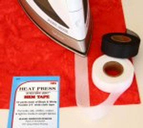 Heat Press Batting Together,  Hem Tape Black & White - 10 yards each