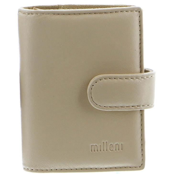 Milleni Leather Credit Card Holder in Beige (C10576) - Closed