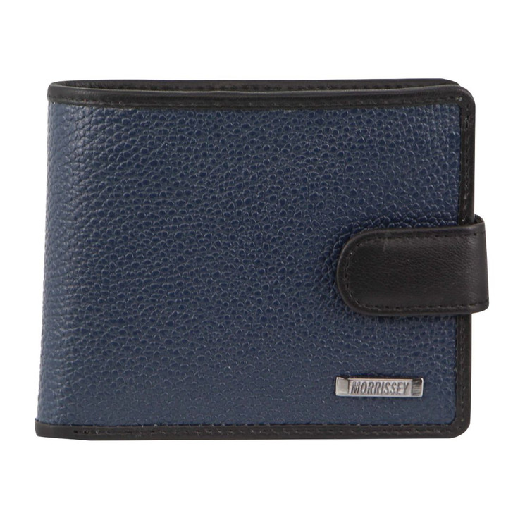 Morrissey Italian Leather Tri-Fold Mens Wallet in Navy (MO 3076)