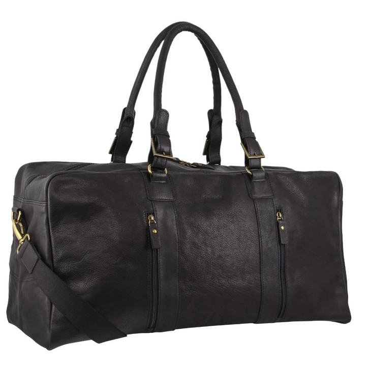 Pierre Cardin Rustic Leather Business/Overnight Bag in Black (PC3139)