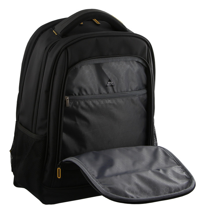 Pierre Cardin Travel and Business Backpack in Black (PC2132)  - Front Pocket