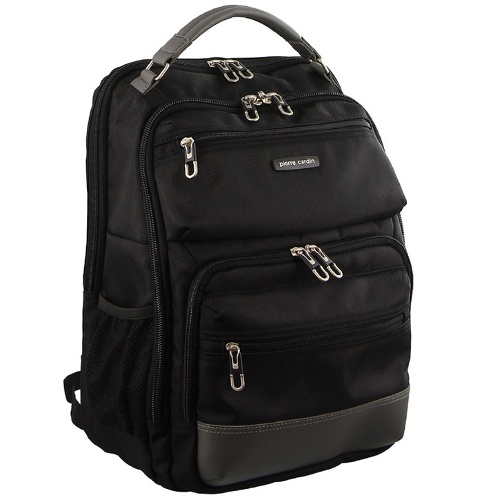 Pierre Cardin Black Nylon Travel and Business Backpack in Black (PC2638)