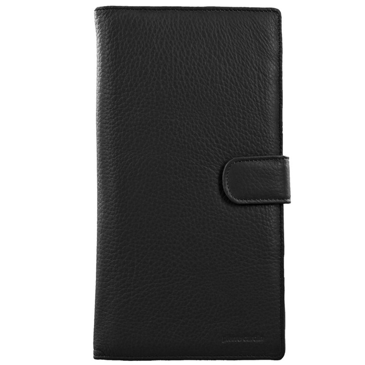 Pierre Cardin Italian Leather Passport Wallet - Black (PC1886)