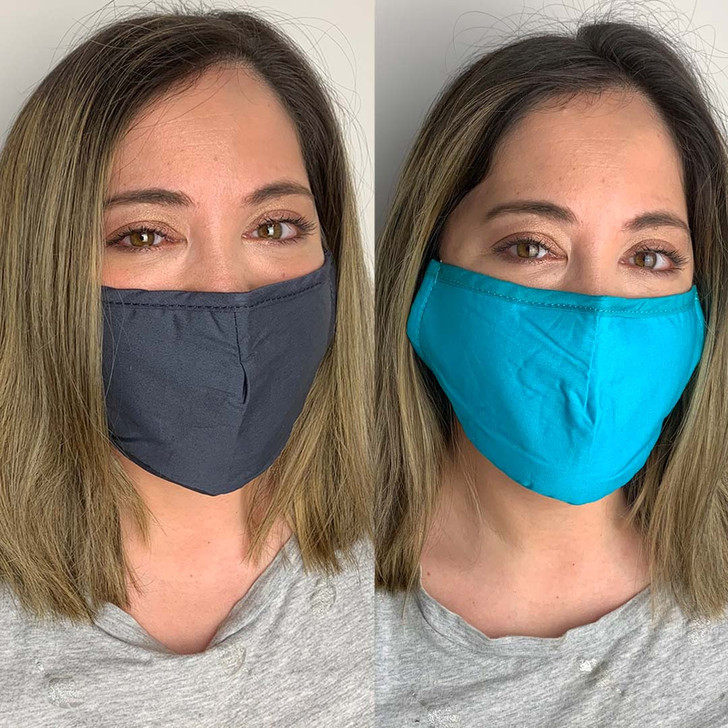 Pack of 2 Reusable 100% Cotton Fabric Face Masks in Blue & Grey