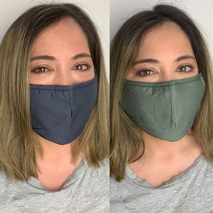 Pack of 2 Reusable 100% Cotton Fabric Face Masks in Green & Grey