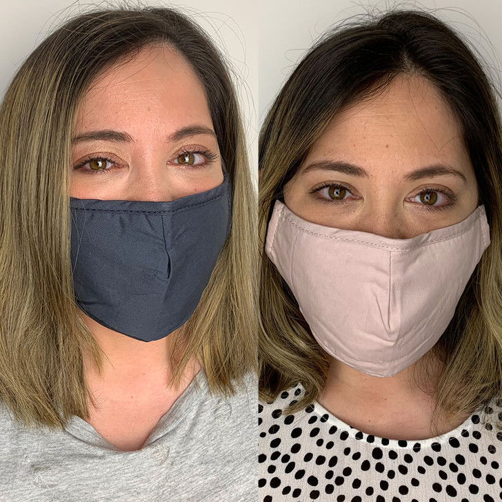 Pack of 2 Reusable 100% Cotton Fabric Face Masks in Blush & Grey