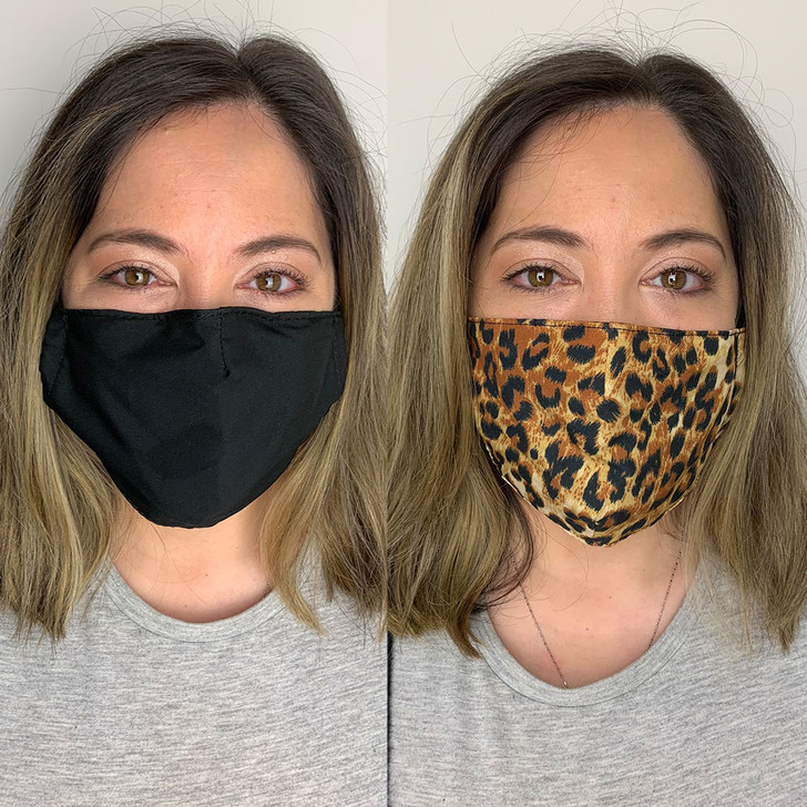 Pack of 2 Reusable 100% Cotton Fabric Face Masks in Leopard Print & Black