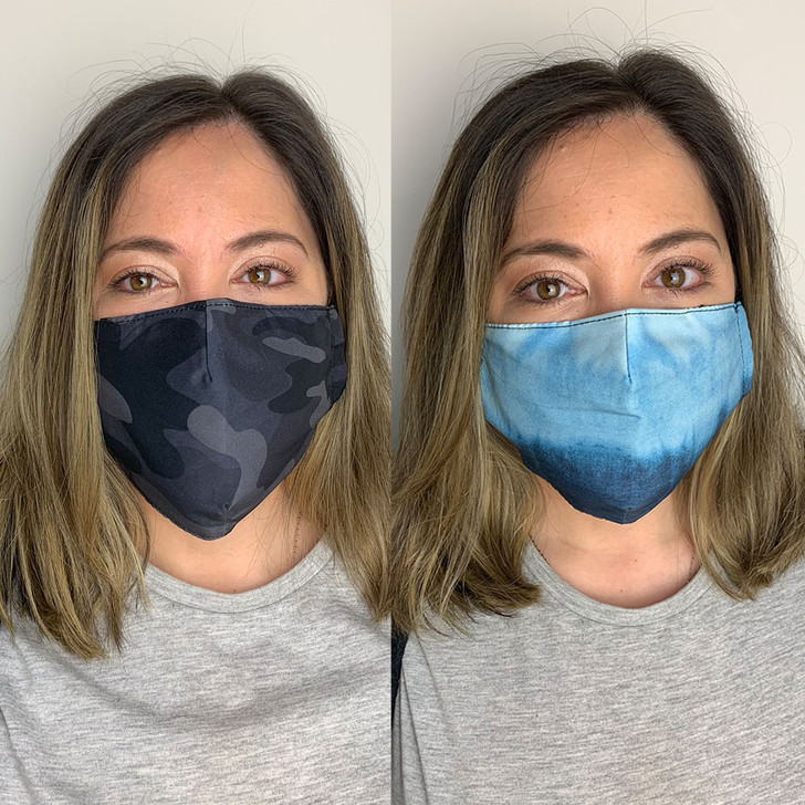 Pack of 2 Reusable 100% Cotton Fabric Face Masks in Camo & Blue