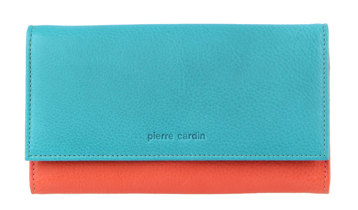 Pierre Cardin MultiColour Leather Ladies Wallet (PC3262) in Turq/Orange