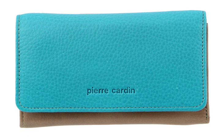 Pierre Cardin MultiColour Leather Ladies Tri-Fold Wallet (PC3261) in Taupe/Turq