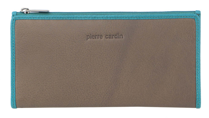 Pierre Cardin Ladies MultiColour Leather BiFold Wallet (PC3260)  in Taupe/Turq