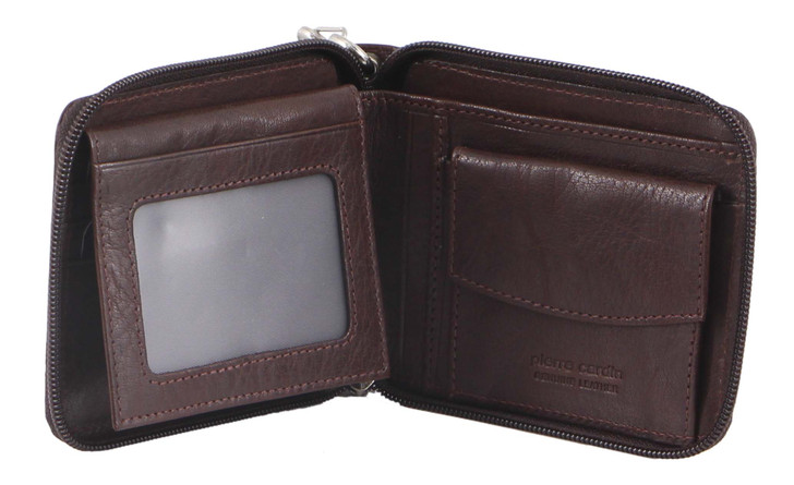 Pierre Cardin Mens Zip-Around Leather Wallet with Chain (PC3273) in Brown - Open