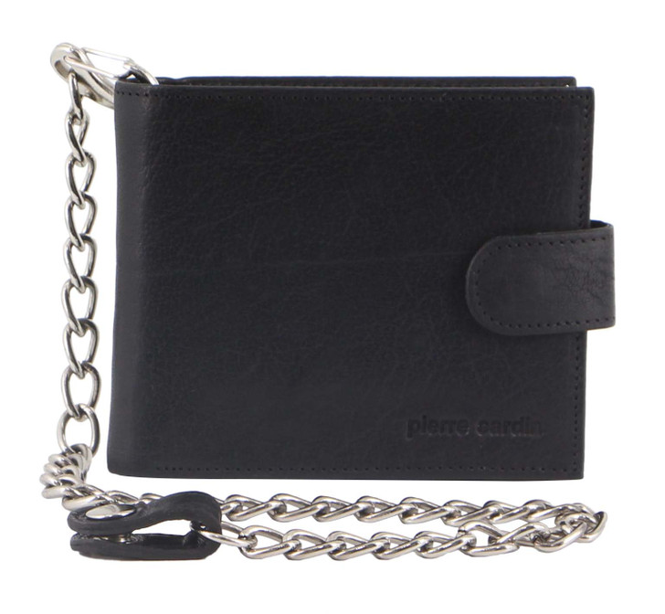 Pierre Cardin Rustic Leather Mens Wallet with Chain (PC3274) in Black