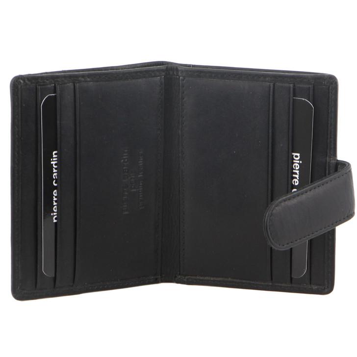Pierre Cardin Mens Leather Bi-Fold Card Holder/Wallet (PC 3308) in Black - Open