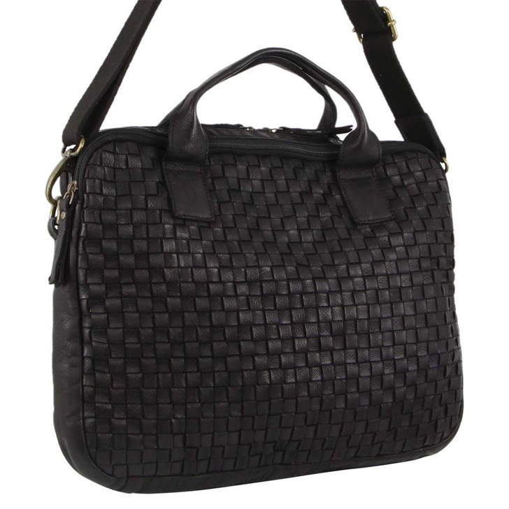 Pierre Cardin Woven Leather Computer/Business Bag (PC3141) in Black