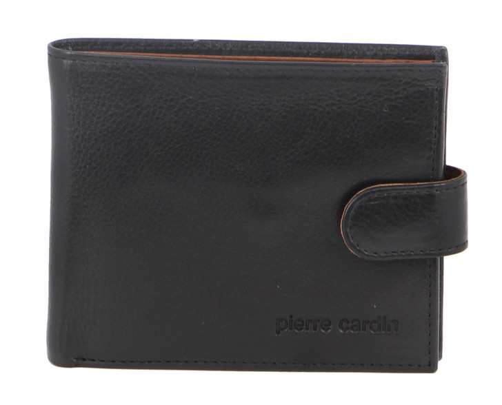 Pierre Cardin Italian Leather Mens Two Tone Wallet in Black/Cognac (PC2631)