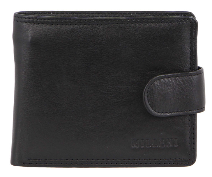 Milleni Mens Leather Tab Wallet in Black (C10540) - Closed